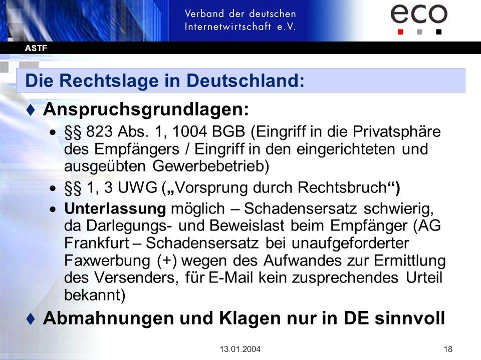 ASTF 13.01.200418 Die Rechtslage in Deutschland: t Anspruchsgrundlagen: §§ 823 Abs. 1, 1004 BGB (Eingriff in die Privatsphäre des Empfängers / Eingrif