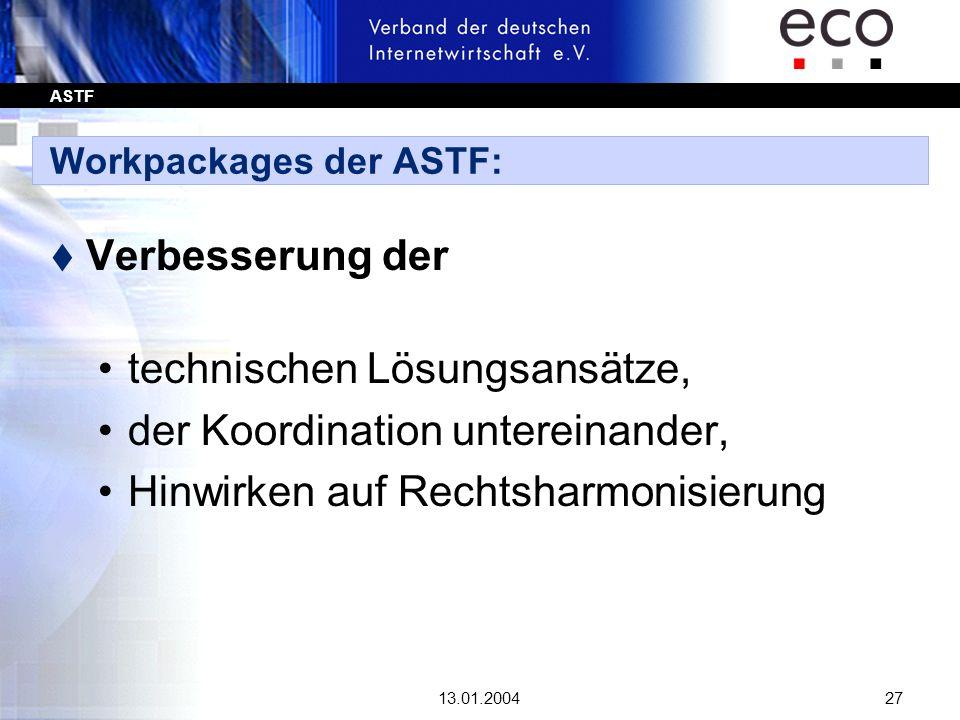 ASTF 13.01.200427 Workpackages der ASTF: t Verbesserung der technischen Lösungsansätze, der Koordination untereinander, Hinwirken auf Rechtsharmonisie