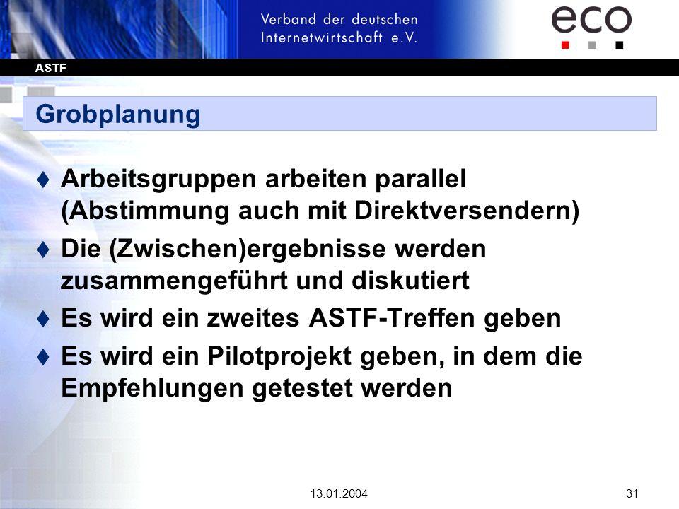 ASTF 13.01.200431 Grobplanung t Arbeitsgruppen arbeiten parallel (Abstimmung auch mit Direktversendern) t Die (Zwischen)ergebnisse werden zusammengefü