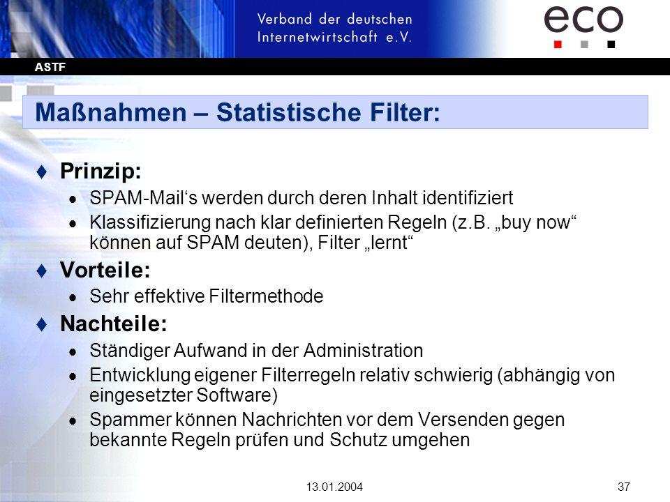 ASTF 13.01.200437 Maßnahmen – Statistische Filter: t Prinzip: SPAM-Mails werden durch deren Inhalt identifiziert Klassifizierung nach klar definierten
