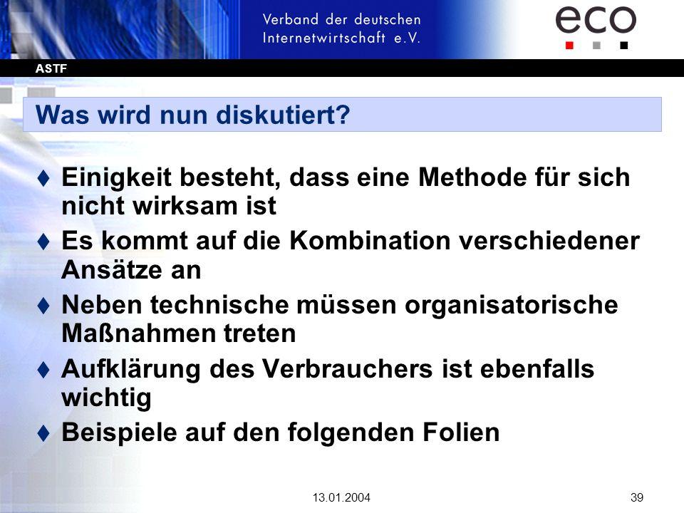 ASTF 13.01.200439 Was wird nun diskutiert? t Einigkeit besteht, dass eine Methode für sich nicht wirksam ist t Es kommt auf die Kombination verschiede