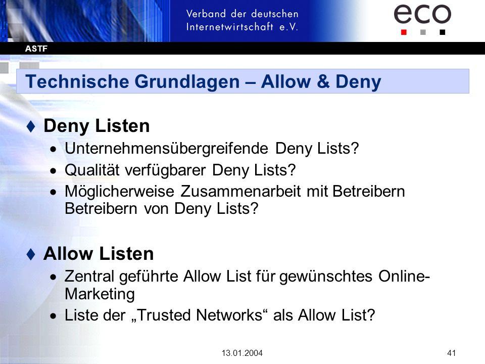 ASTF 13.01.200441 Technische Grundlagen – Allow & Deny t Deny Listen Unternehmensübergreifende Deny Lists? Qualität verfügbarer Deny Lists? Möglicherw