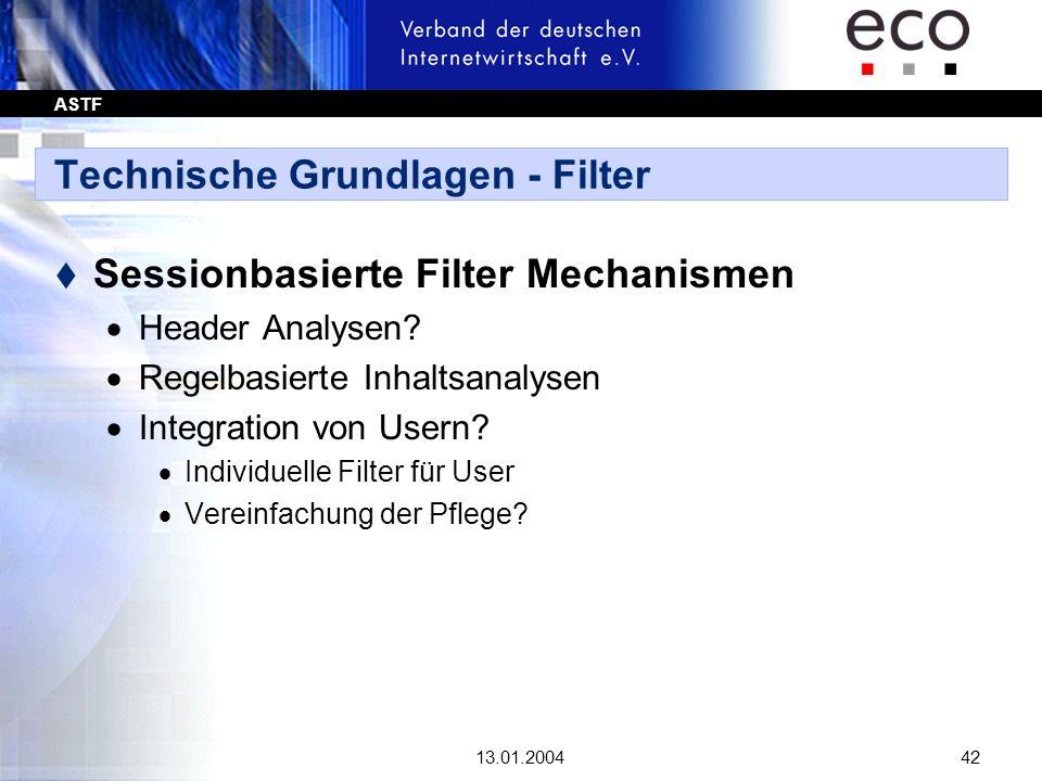 ASTF 13.01.200442 Technische Grundlagen - Filter t Sessionbasierte Filter Mechanismen Header Analysen? Regelbasierte Inhaltsanalysen Integration von U