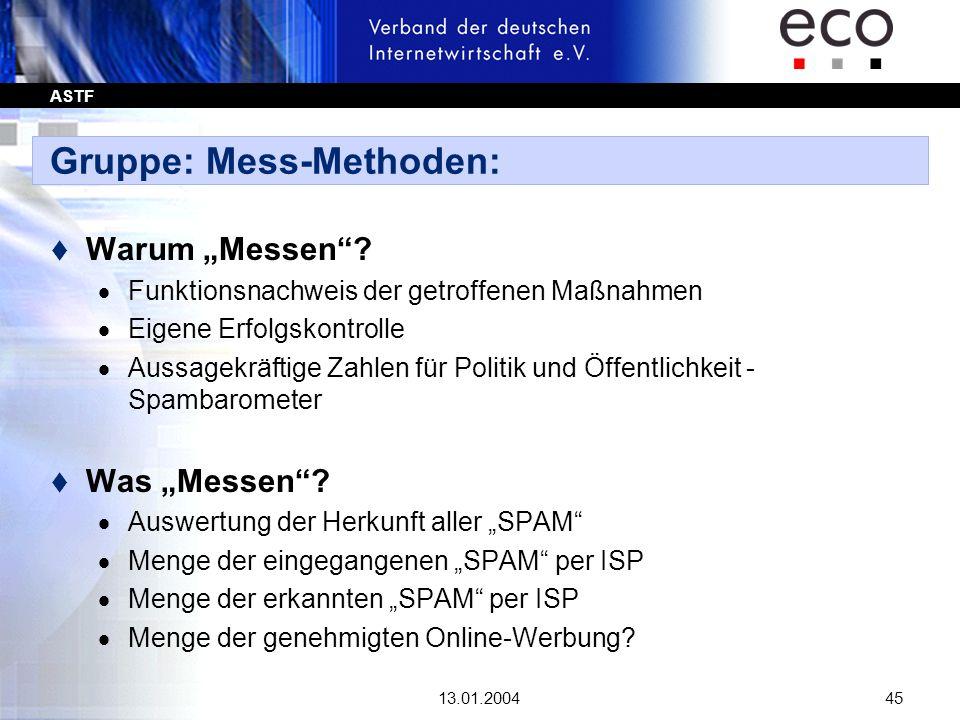 ASTF 13.01.200445 Gruppe: Mess-Methoden: t Warum Messen? Funktionsnachweis der getroffenen Maßnahmen Eigene Erfolgskontrolle Aussagekräftige Zahlen fü