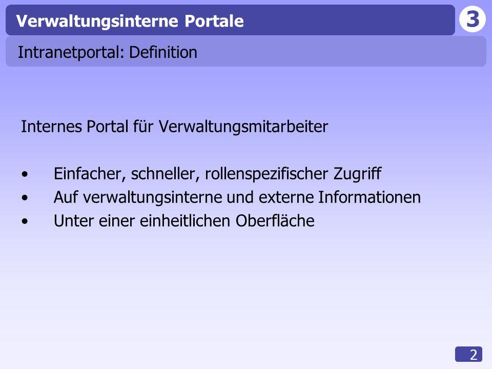 3 Verwaltungsinterne Portale 2 Intranetportal: Definition Internes Portal für Verwaltungsmitarbeiter Einfacher, schneller, rollenspezifischer Zugriff