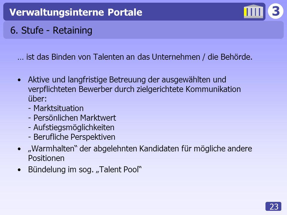 3 Verwaltungsinterne Portale 23 6. Stufe - Retaining … ist das Binden von Talenten an das Unternehmen / die Behörde. Aktive und langfristige Betreuung