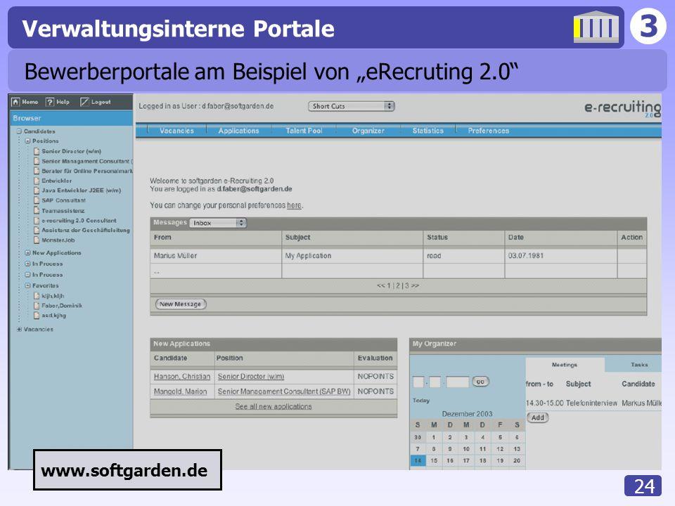 3 Verwaltungsinterne Portale 24 Bewerberportale am Beispiel von eRecruting 2.0 www.softgarden.de