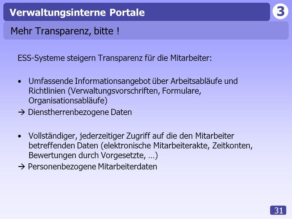 3 Verwaltungsinterne Portale 31 Mehr Transparenz, bitte ! ESS-Systeme steigern Transparenz für die Mitarbeiter: Umfassende Informationsangebot über Ar