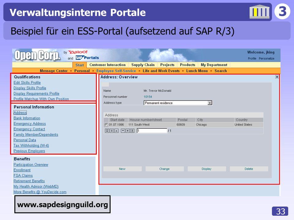 3 Verwaltungsinterne Portale 33 Beispiel für ein ESS-Portal (aufsetzend auf SAP R/3) www.sapdesignguild.org