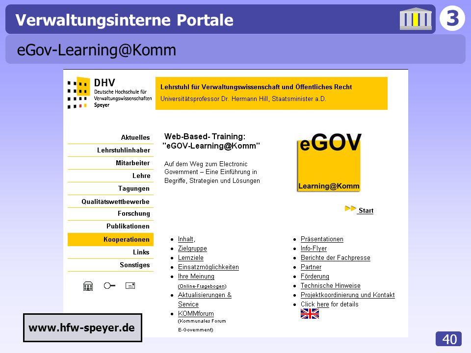 3 Verwaltungsinterne Portale 40 eGov-Learning@Komm www.hfw-speyer.de