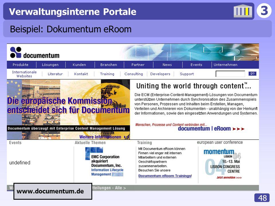 3 Verwaltungsinterne Portale 48 Beispiel: Dokumentum eRoom www.documentum.de