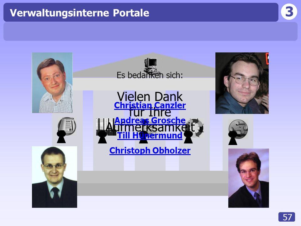 3 Verwaltungsinterne Portale 57 Vielen Dank für Ihre Aufmerksamkeit Es bedanken sich: Christian Canzler Andreas Grosche Till Hünermund Christoph Obhol