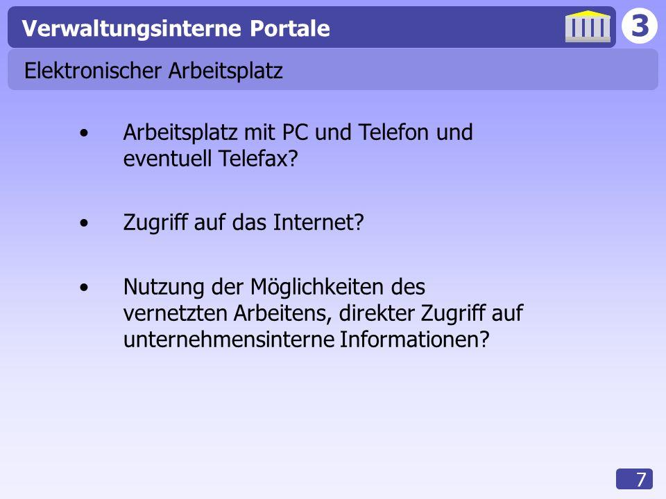 3 Verwaltungsinterne Portale 7 Elektronischer Arbeitsplatz Arbeitsplatz mit PC und Telefon und eventuell Telefax? Zugriff auf das Internet? Nutzung de