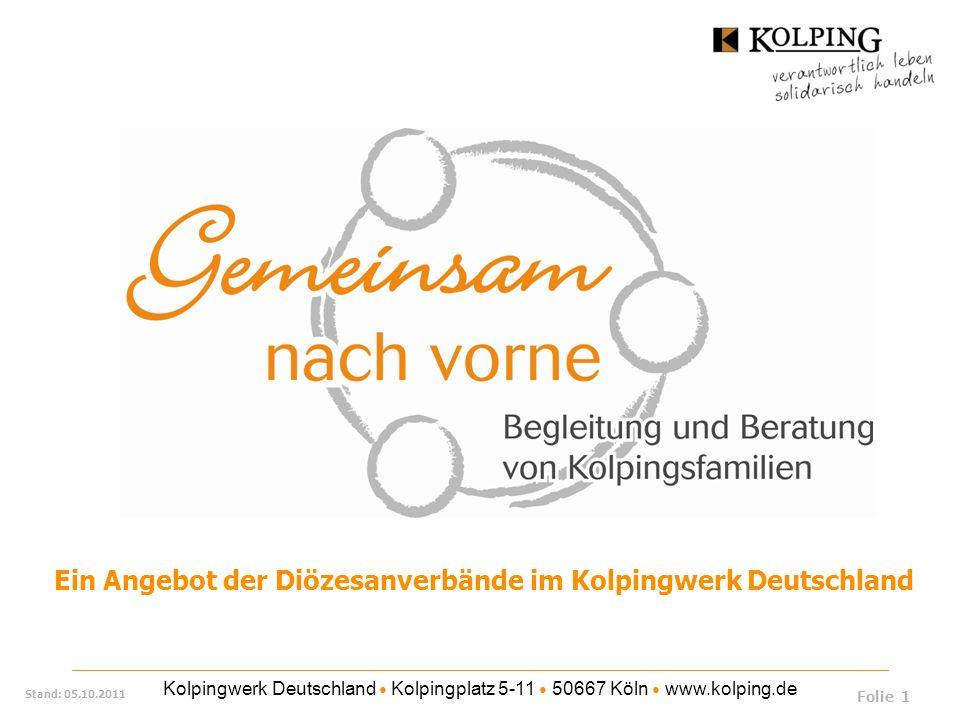 Kolpingwerk Deutschland Kolpingplatz 5-11 50667 Köln www.kolping.de Stand: 05.10.2011 Unsere Kolpingsfamilie ist jetzt fit, aber was wird im Jahr 2015 sein.