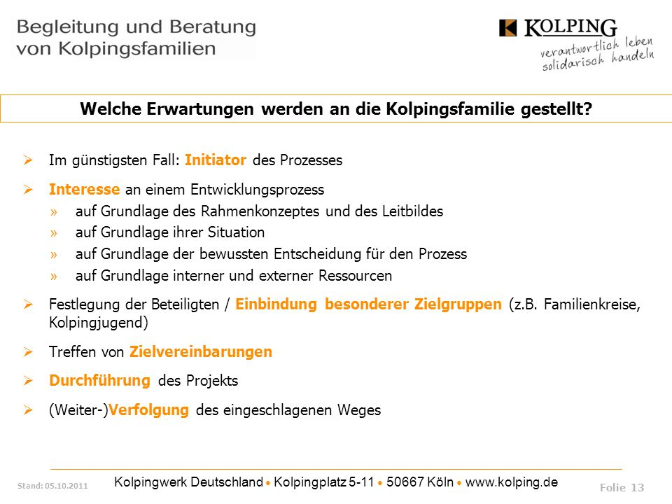 Kolpingwerk Deutschland Kolpingplatz 5-11 50667 Köln www.kolping.de Stand: 05.10.2011 Im günstigsten Fall: Initiator des Prozesses Interesse an einem