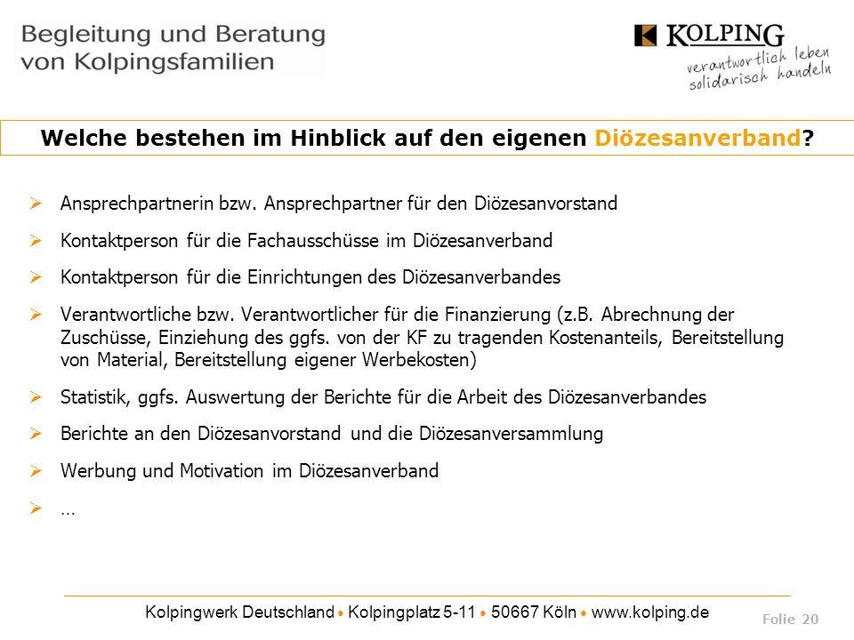 Kolpingwerk Deutschland Kolpingplatz 5-11 50667 Köln www.kolping.de Ansprechpartnerin bzw. Ansprechpartner für den Diözesanvorstand Kontaktperson für
