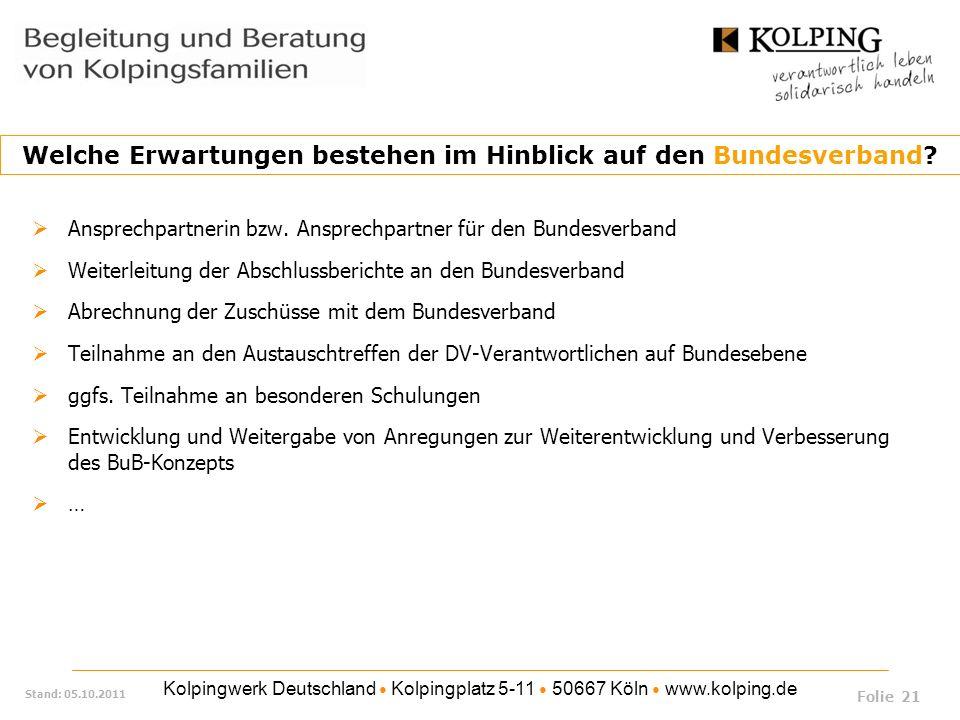Kolpingwerk Deutschland Kolpingplatz 5-11 50667 Köln www.kolping.de Stand: 05.10.2011 Ansprechpartnerin bzw. Ansprechpartner für den Bundesverband Wei