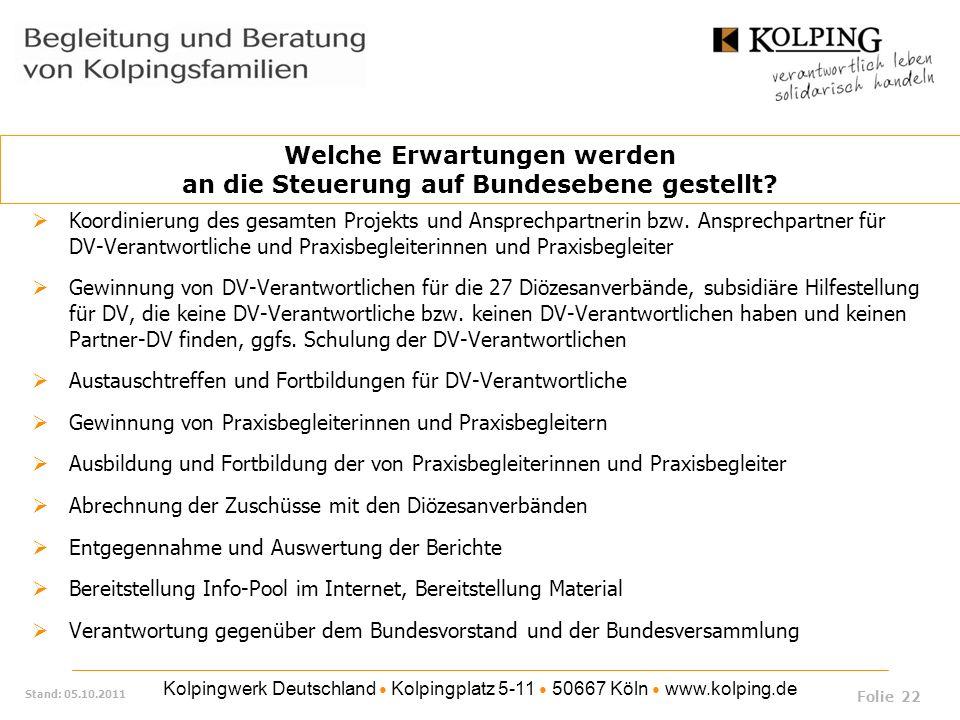 Kolpingwerk Deutschland Kolpingplatz 5-11 50667 Köln www.kolping.de Stand: 05.10.2011 Koordinierung des gesamten Projekts und Ansprechpartnerin bzw. A