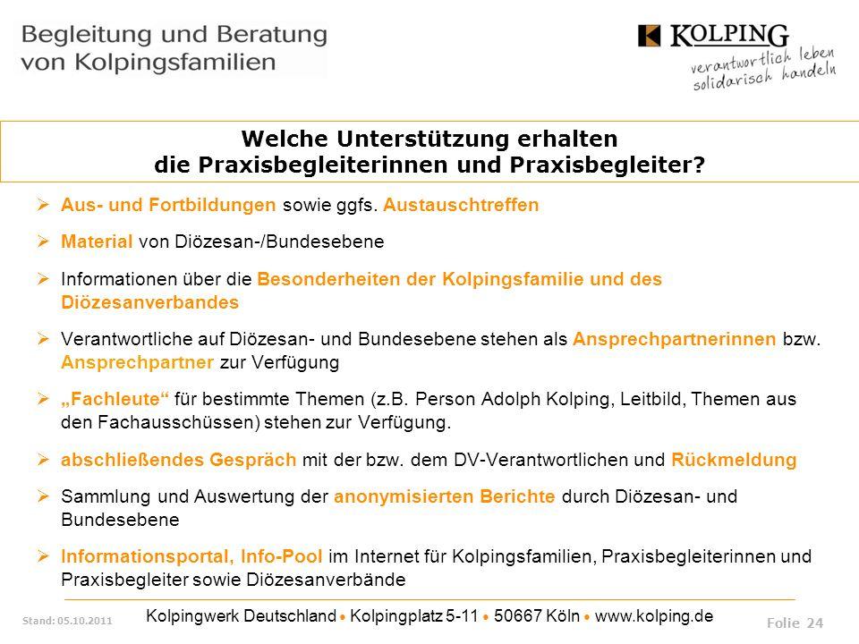 Kolpingwerk Deutschland Kolpingplatz 5-11 50667 Köln www.kolping.de Stand: 05.10.2011 Aus- und Fortbildungen sowie ggfs. Austauschtreffen Material von