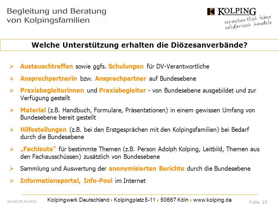 Kolpingwerk Deutschland Kolpingplatz 5-11 50667 Köln www.kolping.de Stand: 05.10.2011 Austauschtreffen sowie ggfs. Schulungen für DV-Verantwortliche A