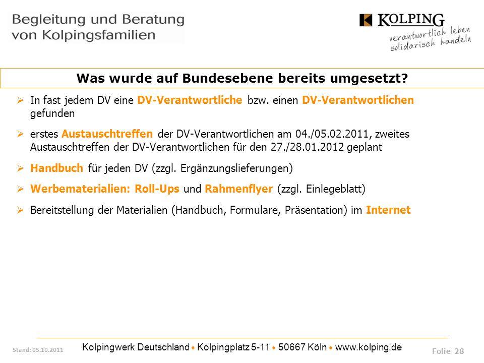 Kolpingwerk Deutschland Kolpingplatz 5-11 50667 Köln www.kolping.de Stand: 05.10.2011 In fast jedem DV eine DV-Verantwortliche bzw. einen DV-Verantwor