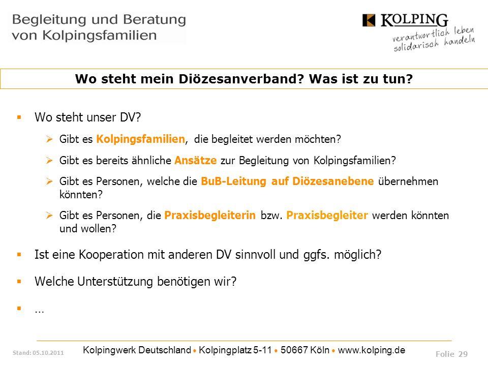 Kolpingwerk Deutschland Kolpingplatz 5-11 50667 Köln www.kolping.de Stand: 05.10.2011 Wo steht unser DV? Gibt es Kolpingsfamilien, die begleitet werde