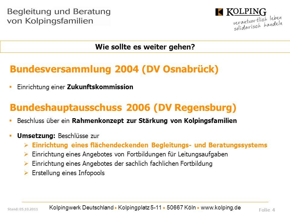 Kolpingwerk Deutschland Kolpingplatz 5-11 50667 Köln www.kolping.de Stand: 05.10.2011 Bundeshauptausschuss 2006 (DV Regensburg) Beschluss über ein Rah