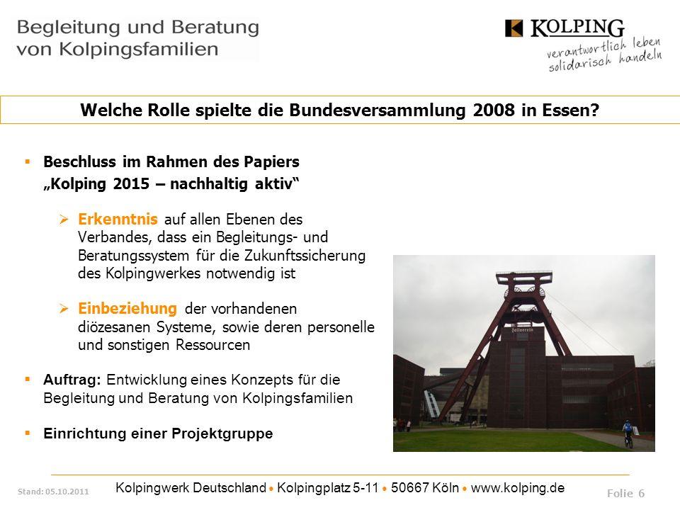 Kolpingwerk Deutschland Kolpingplatz 5-11 50667 Köln www.kolping.de Stand: 05.10.2011 Durchführung von Regionaltreffen mit den Diözesanverbänden / Sammlung von Anregungen egat2010 - Forum zu Begleitung und Beratung von KF, Präsentation und Flyer Durchführung zweier Ausbildungsdurchläufe an zwei Standorten (Schweinfurt und Paderborn) mit jeweils zwei Ausbildungsmodulen; ca.