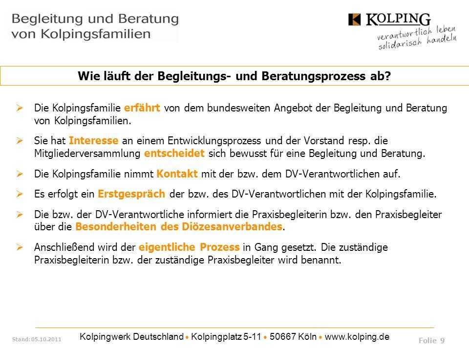 Kolpingwerk Deutschland Kolpingplatz 5-11 50667 Köln www.kolping.de Stand: 05.10.2011 Die Kolpingsfamilie erfährt von dem bundesweiten Angebot der Beg