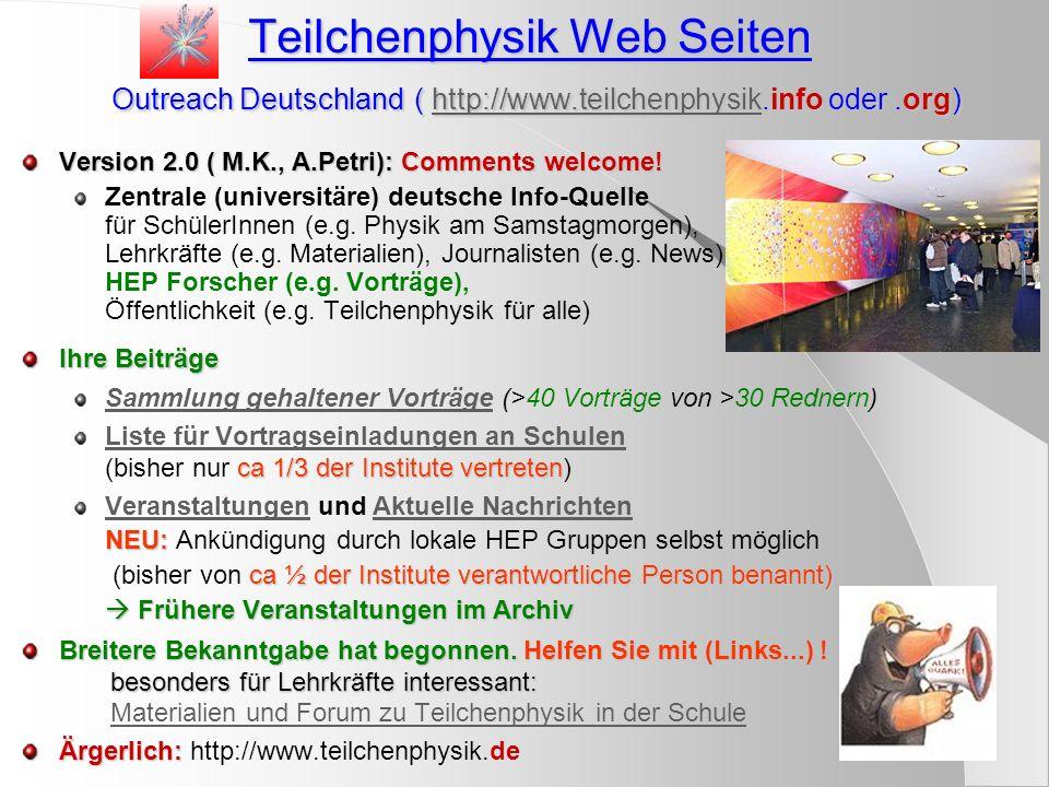 1) CERN Fortbildungen für Lehrkräfte Zentral zugänglich über http://www.cern.ch/educationhttp://www.cern.ch/education 3-wöchige High School Teachers (HST), Juli Summer student lectures und spezielle Vorträge Eigene Lehrmaterialien auf http://teachers.cern.chLehrmaterialienhttp://teachers.cern.ch Bewerbungen(D) 2000-2003 (0, 1+6, 1+3, 1+3) Teilnehmer (D) 2000-2003 (0, 1+3, 1+1, 1+?) 3-tägige Physics Teachers @ CERN, Februar Vorträge, Besichtigungen, Arbeitsgruppen 2002: 10 Bewerbungen(D), 6 akzeptiert 2003: 22 Bewerbungen(D), 14 akzeptiert (Bisher) Keine Fahrtkostenerstattung Zukunft: 2-4 mal pro Jahr, insg.