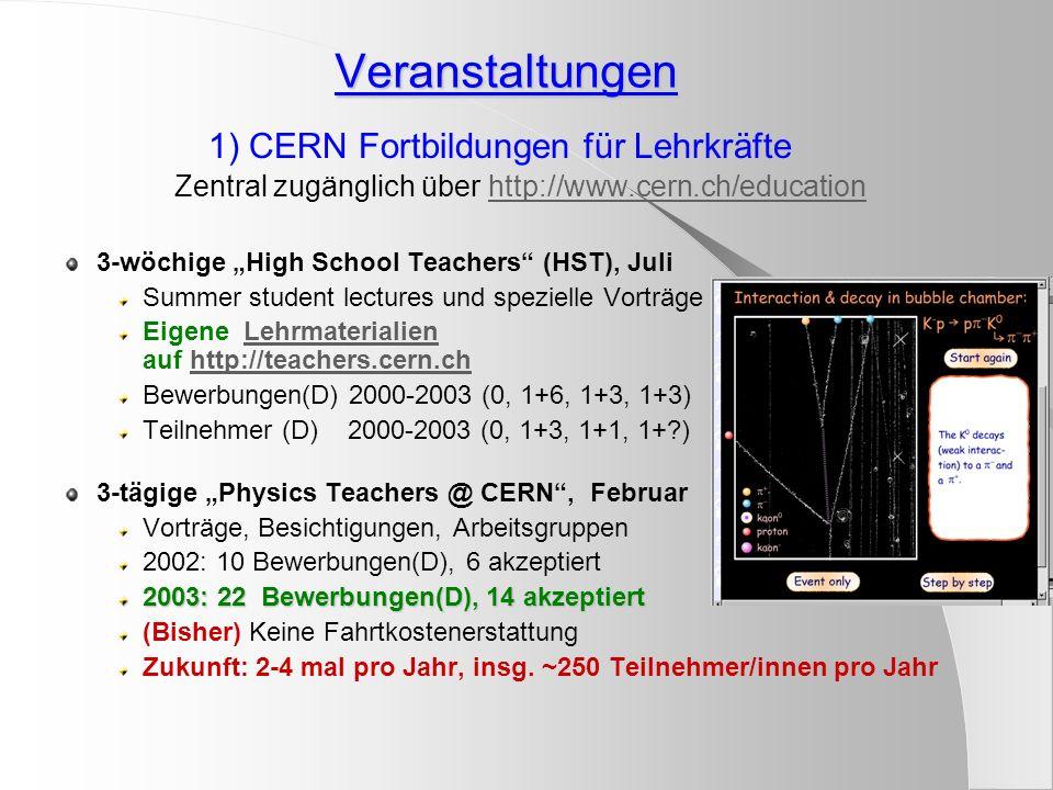 2) Schnuppertage / Masterclasses http://www.teilchenphysik.info/ Hep Physiker Schülerworkshops Zeitbedarf: 1-2 Stunden Vortrag + 1-2 Stunden am PC http://www.teilchenphysik.info/ Manchester (OPAL)(OPAL) Teilchen- und Ereignisidentifikation Messung der Z-Zerfallsraten Gleichheit von e, mu, tau 5 Quarks in je 3 Ladungsarten Bonn: Teilweise ÜbersetzungTeilweise Übersetzung, Auswertung Lancaster (Aleph)(Aleph) Stoßgesetze e+e- Vernichtung Bewegung im magn Feld, Impulsmessung Ereignisklassen