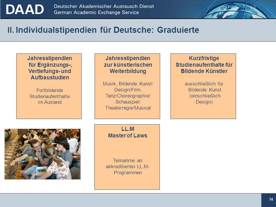 14 II. Individualstipendien für Deutsche: Graduierte 14 Jahresstipendien für Ergänzungs-, Vertiefungs- und Aufbaustudien Fortbildende Studienaufenthal