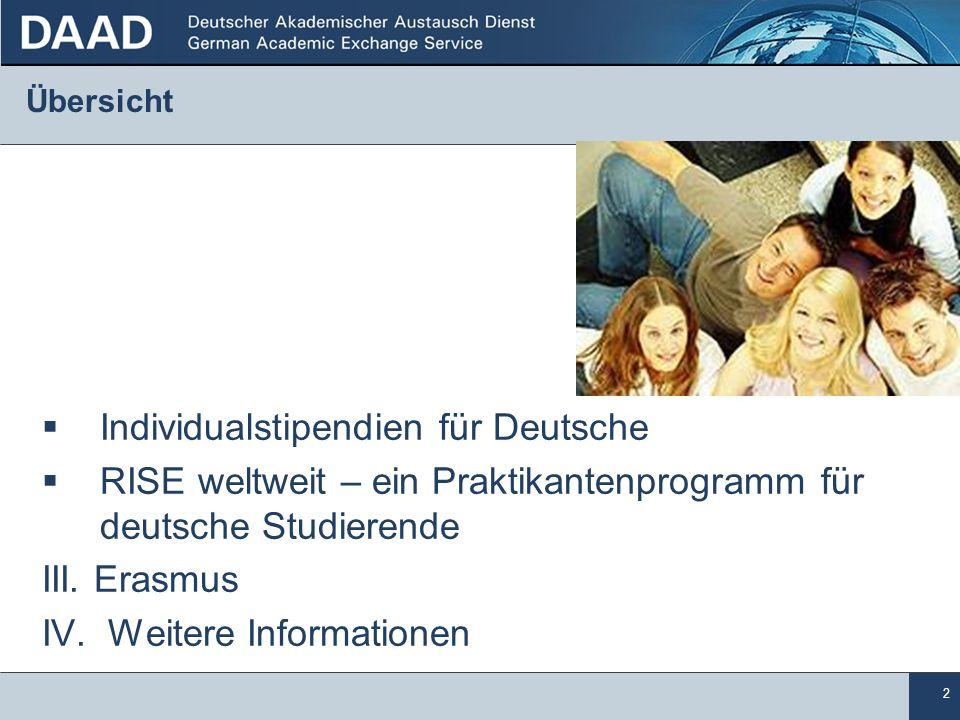 2 Übersicht Individualstipendien für Deutsche RISE weltweit – ein Praktikantenprogramm für.deutsche Studierende III. Erasmus IV. Weitere Informationen