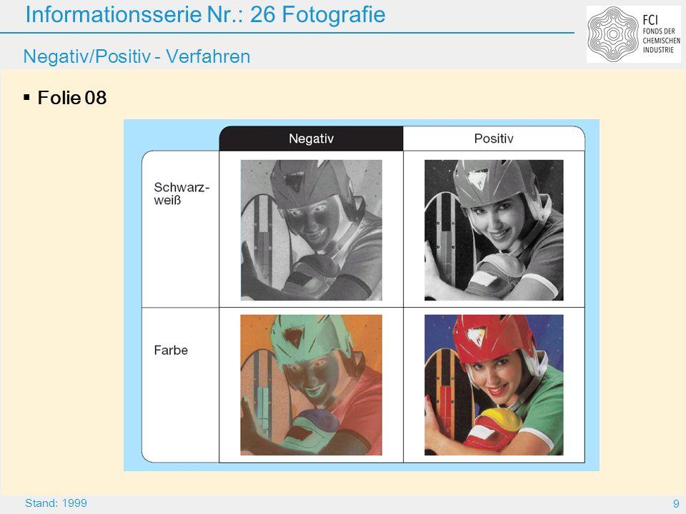 Informationsserie Nr.: 26 Fotografie 20 Stand: 1999 Farbstoff-Diffusion (Polaroid SX 70) Folie 19