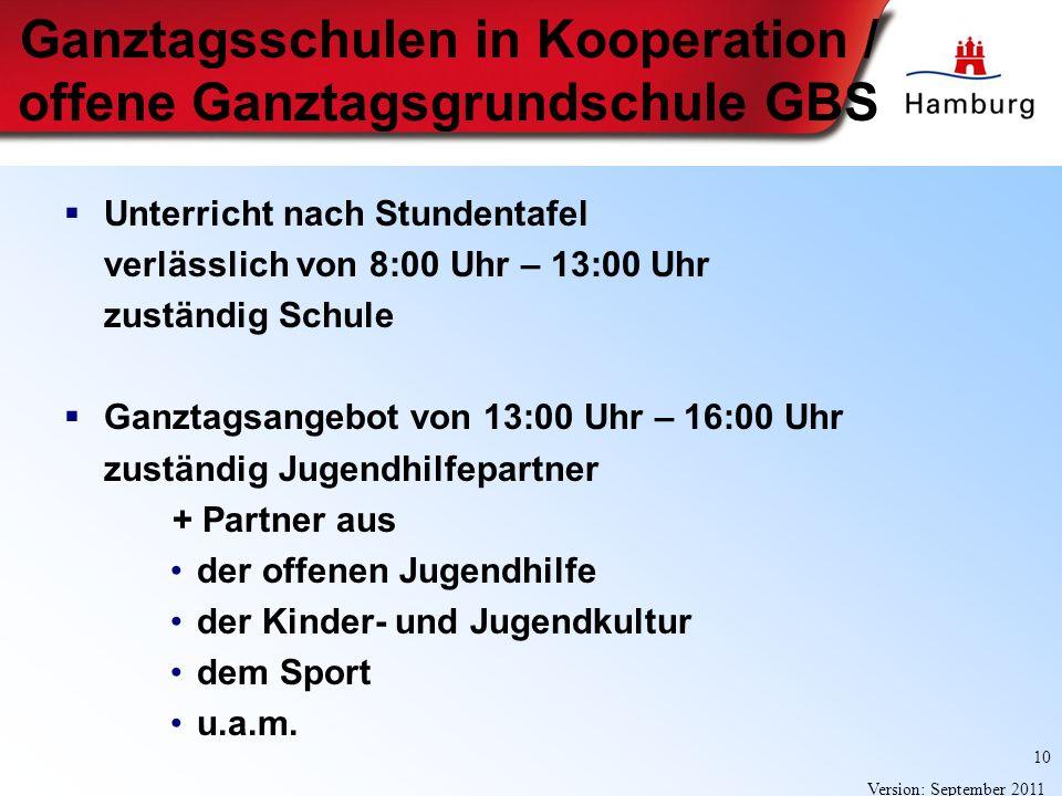 10 Version: September 2011 Ganztagsschulen in Kooperation / offene Ganztagsgrundschule GBS Unterricht nach Stundentafel verlässlich von 8:00 Uhr – 13: