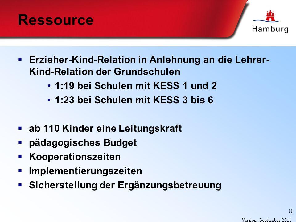 11 Version: September 2011 Ressource Erzieher-Kind-Relation in Anlehnung an die Lehrer- Kind-Relation der Grundschulen 1:19 bei Schulen mit KESS 1 und