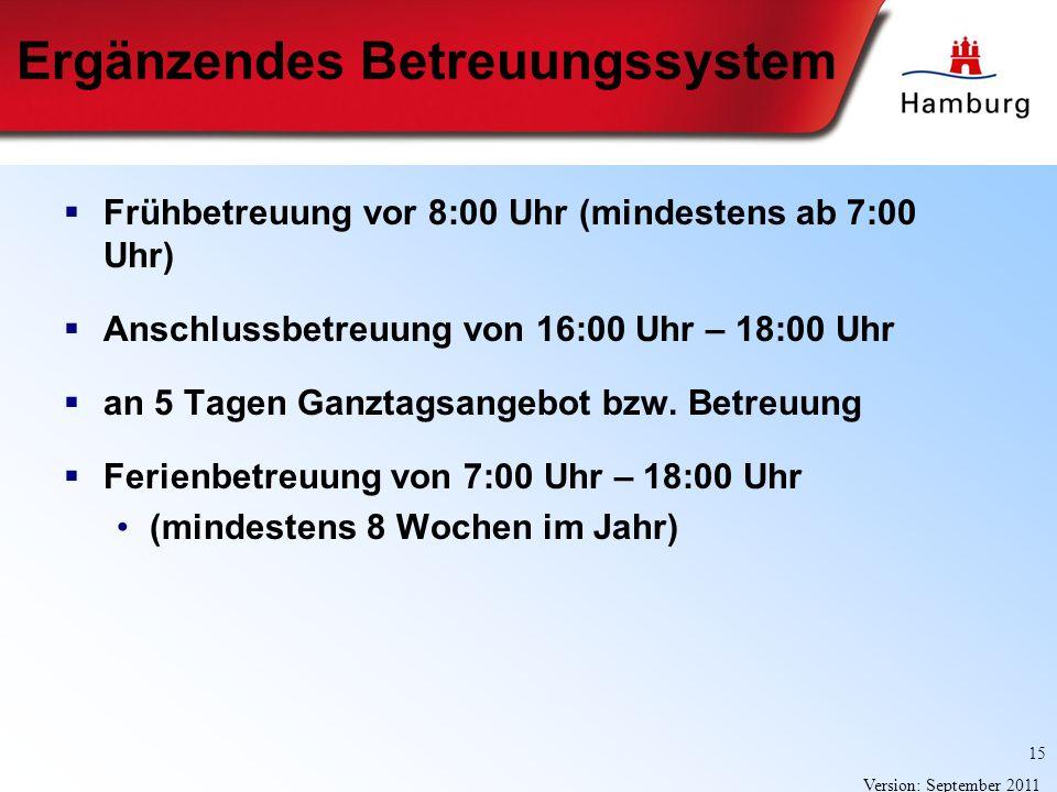15 Version: September 2011 Ergänzendes Betreuungssystem Frühbetreuung vor 8:00 Uhr (mindestens ab 7:00 Uhr) Anschlussbetreuung von 16:00 Uhr – 18:00 U
