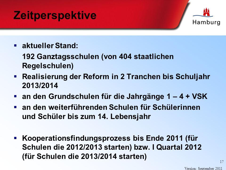 17 Version: September 2011 Zeitperspektive aktueller Stand: 192 Ganztagsschulen (von 404 staatlichen Regelschulen) Realisierung der Reform in 2 Tranch