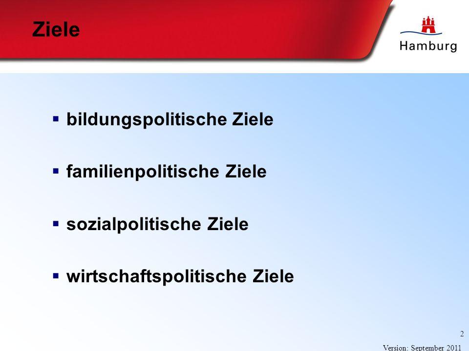 2 Version: September 2011 Ziele bildungspolitische Ziele familienpolitische Ziele sozialpolitische Ziele wirtschaftspolitische Ziele