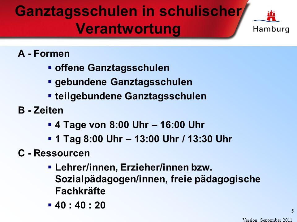 5 Version: September 2011 Ganztagsschulen in schulischer Verantwortung A - Formen offene Ganztagsschulen gebundene Ganztagsschulen teilgebundene Ganzt