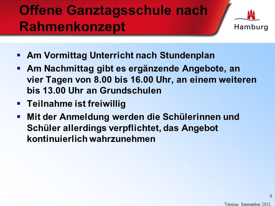 6 Version: September 2011 Offene Ganztagsschule nach Rahmenkonzept Am Vormittag Unterricht nach Stundenplan Am Nachmittag gibt es ergänzende Angebote,