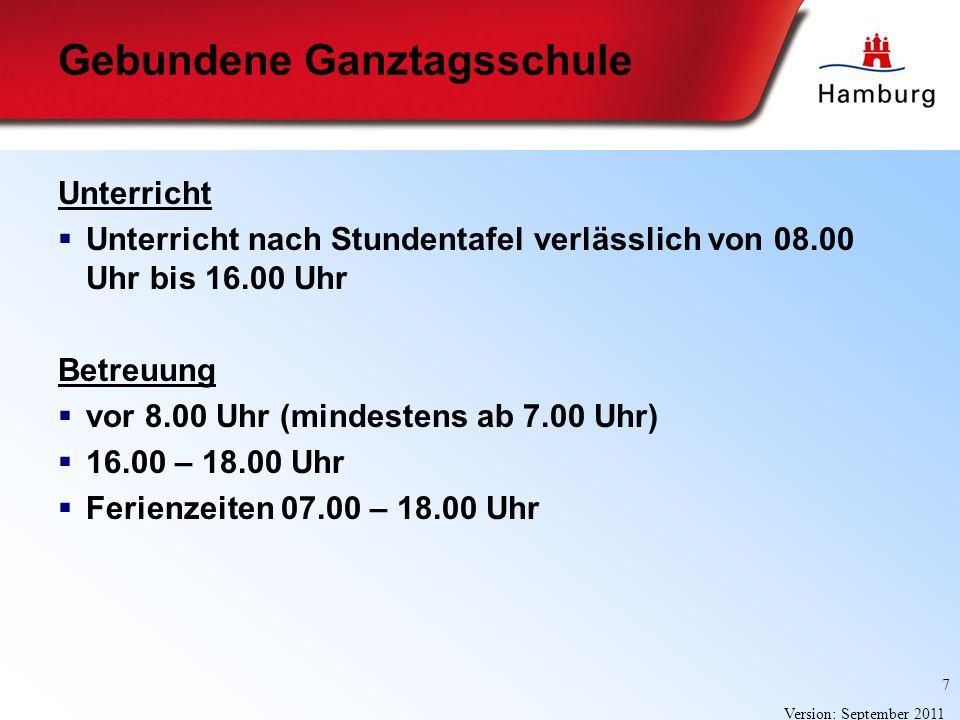 7 Version: September 2011 Unterricht Unterricht nach Stundentafel verlässlich von 08.00 Uhr bis 16.00 Uhr Betreuung vor 8.00 Uhr (mindestens ab 7.00 U