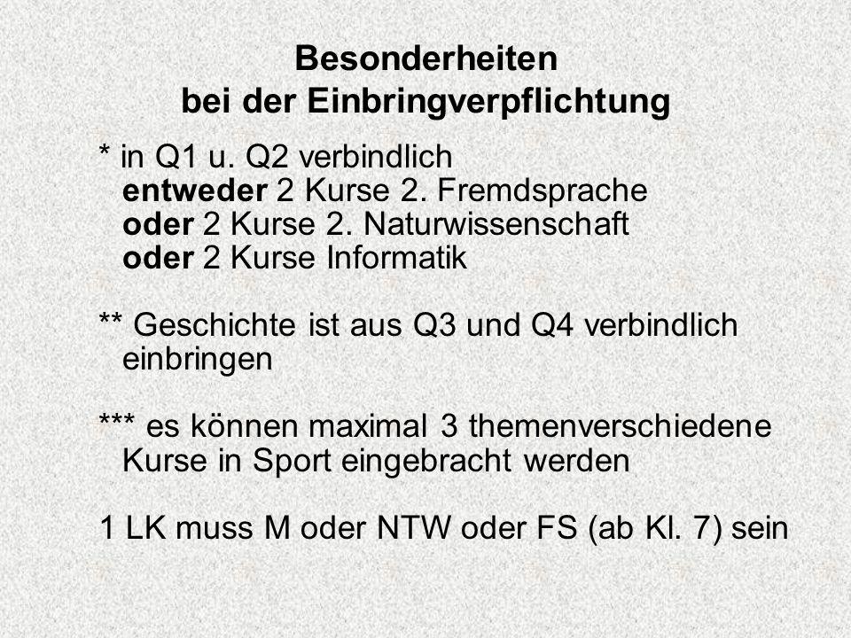 Besonderheiten bei der Einbringverpflichtung * in Q1 u. Q2 verbindlich entweder 2 Kurse 2. Fremdsprache oder 2 Kurse 2. Naturwissenschaft oder 2 Kurse