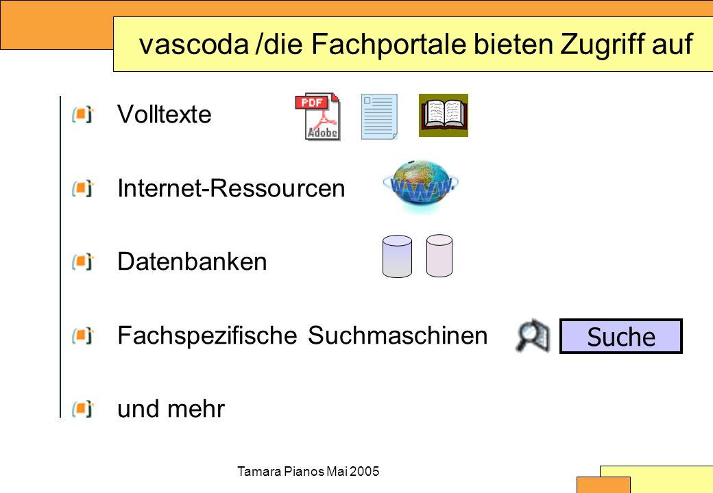 Tamara Pianos Mai 2005 vascoda /die Fachportale bieten Zugriff auf Volltexte Internet-Ressourcen Datenbanken Fachspezifische Suchmaschinen und mehr Su