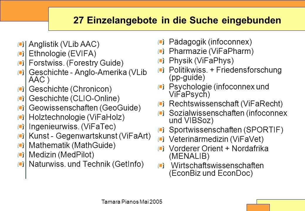 Tamara Pianos Mai 2005 Suche und Navigation auf Portalebene Suche Navigation