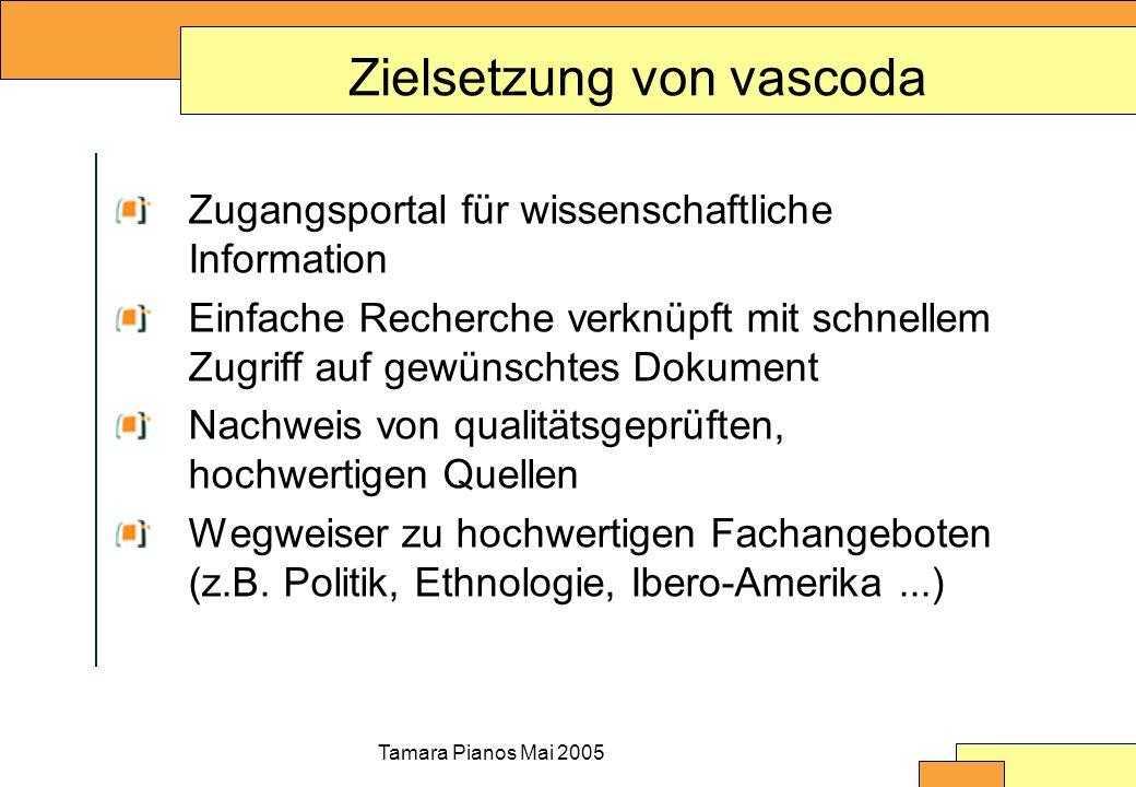 Tamara Pianos Mai 2005 Zielsetzung von vascoda Zugangsportal für wissenschaftliche Information Einfache Recherche verknüpft mit schnellem Zugriff auf