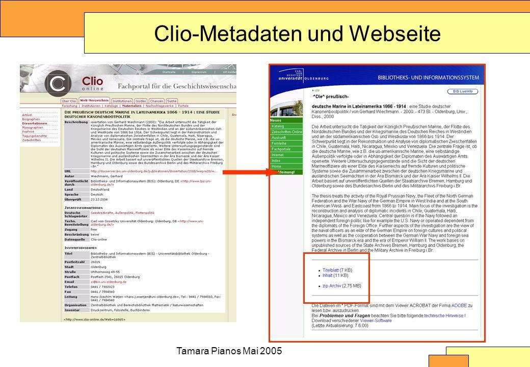 Tamara Pianos Mai 2005 Clio-Metadaten und Webseite