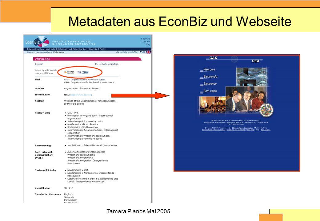 Tamara Pianos Mai 2005 Metadaten aus EconBiz und Webseite