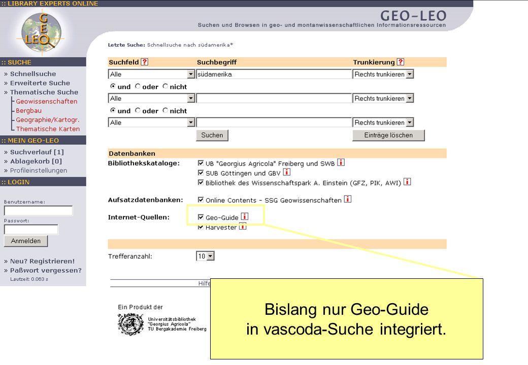 Tamara Pianos Mai 2005 Geo-Leo Bislang nur Geo-Guide in vascoda-Suche integriert.