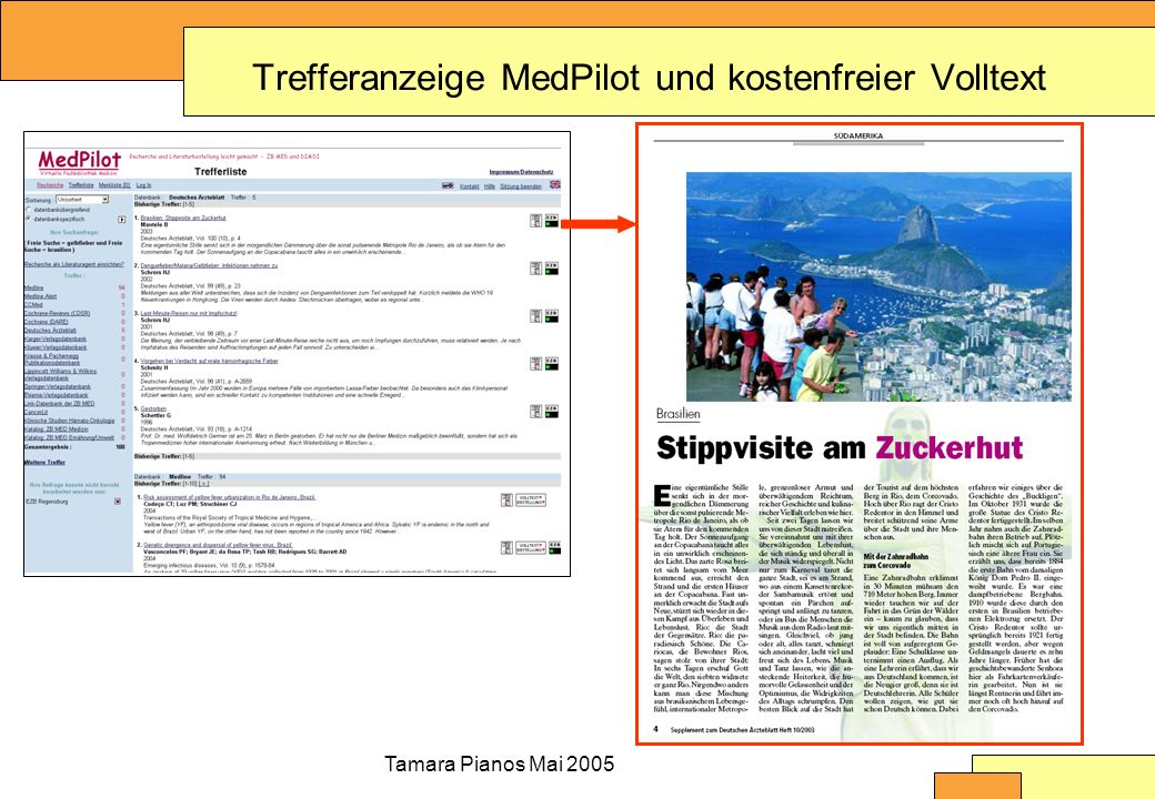 Tamara Pianos Mai 2005 Trefferanzeige MedPilot und kostenfreier Volltext